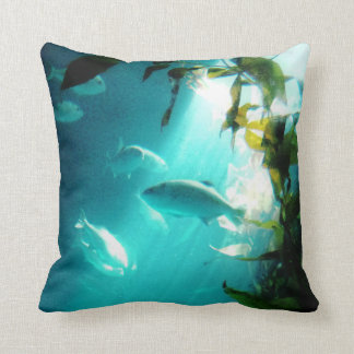 Beam of Light Underwater Fish Swimming Throw Pillow