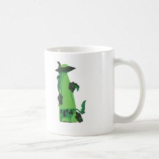 beaming up cow green coffee mug