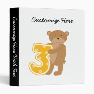 Bear 3rd Birthday T-shirts and Gifts 3 Ring Binders