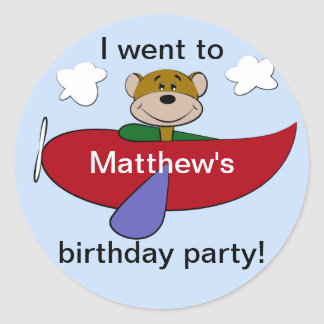 Bear Airplane Birthday Round Sticker