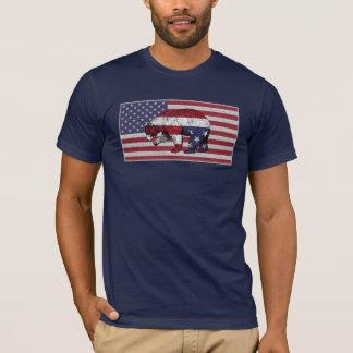 Bear American Flag on Navy Blue T-Shirt