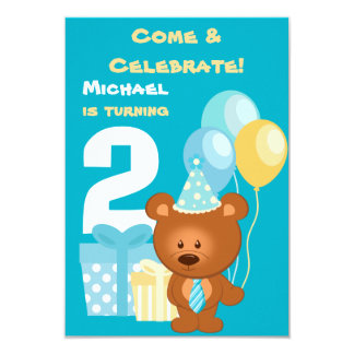 """Bear and Balloons 2nd Birthday Party 3.5"""" X 5"""" Invitation Card"""