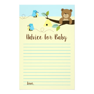 =Bear and Bumble Bee Boy Baby Shower Advice Cards