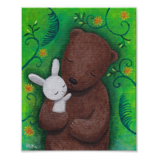 Bear and Bunny Art Poster Woodland Animal Wall Art