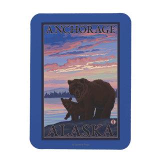 Bear and Cub - Anchorage, Alaska Rectangular Photo Magnet