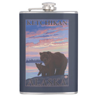 Bear and Cub - Ketchikan, Alaska Flask