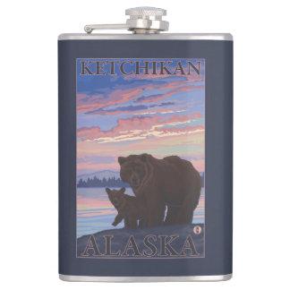 Bear and Cub - Ketchikan, Alaska Hip Flask