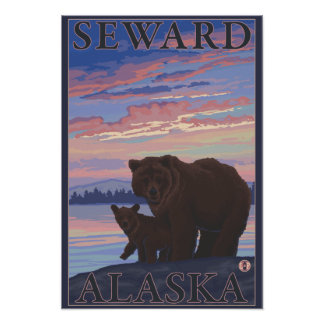 Bear and Cub - Seward, Alaska Poster