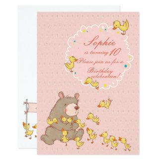 Bear and Ducklings Children Birthday Card