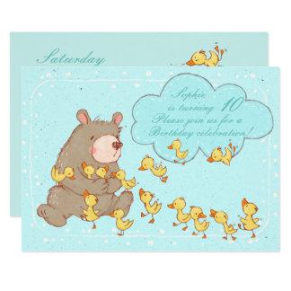 Bear and Ducklings Children Birthday Invitation