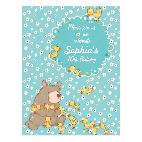 Bear and Ducklings Children Birthday Invitation Postcard