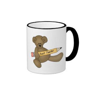 Bear and Pencil Best Teacher Ringer Coffee Mug
