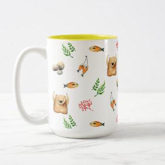 Bear and Salmon Two-Tone Coffee Mug