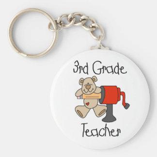 Bear and Sharpener 3rd Grade Basic Round Button Keychain