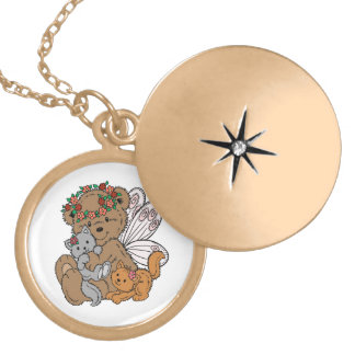 Bear Angel with Kittens Locket Necklace
