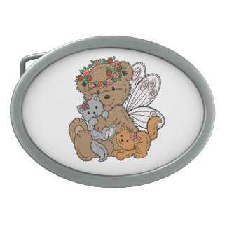 Bear Angel with Kittens Oval Belt Buckle