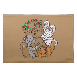 Bear Angel with Kittens Placemat