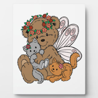 Bear Angel with Kittens Plaque