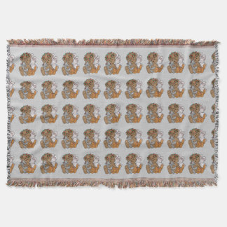 Bear Angel with Kittens Throw Blanket