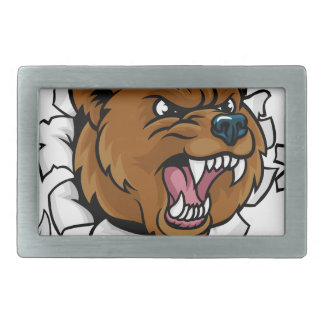 Bear Angry Mascot Background Claws Breakthrough Belt Buckles