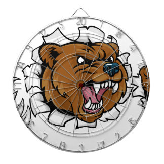 Bear Angry Mascot Background Claws Breakthrough Dartboard