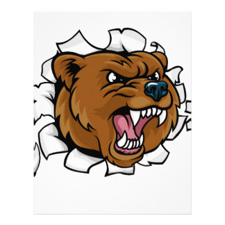 Bear Angry Mascot Background Claws Breakthrough Letterhead