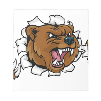 Bear Angry Mascot Background Claws Breakthrough Notepad