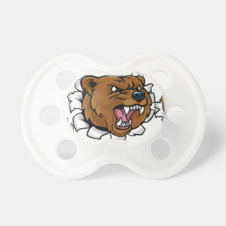 Bear Angry Mascot Background Claws Breakthrough Pacifier