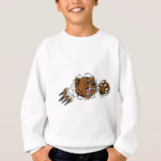 Bear Angry Mascot Background Claws Breakthrough Sweatshirt
