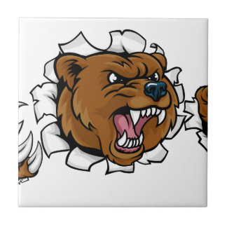Bear Angry Mascot Background Claws Breakthrough Tile