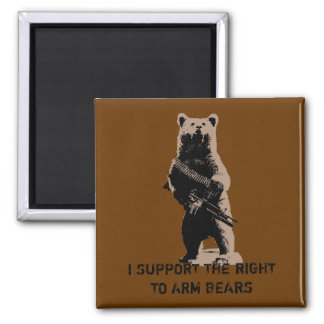 Bear arms Grizzly Bear Square Magnet