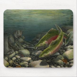 Bear Art Mousepad Fishing Painting Decor