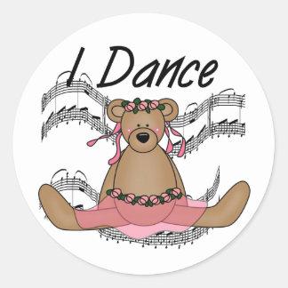 Bear Ballet Dancer Round Stickers