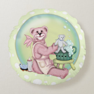 BEAR BATH Brushed Polyester Round Pillow