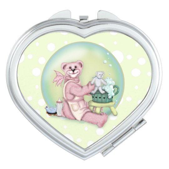 BEAR BATH LOVE compact mirror Heart