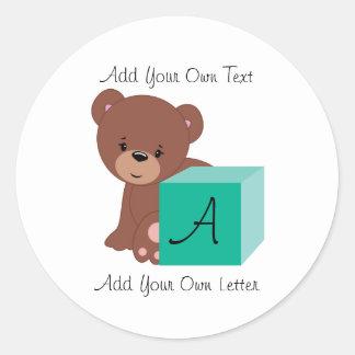 Bear Behind A Green Baby Block Classic Round Sticker