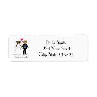 Bear Bride Groom Heart Personalize Return Address