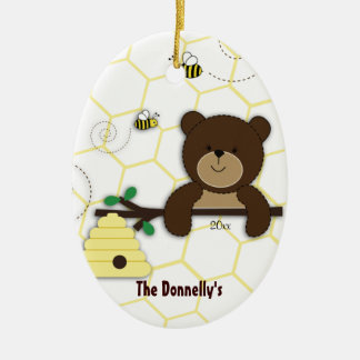 Bear & Bumble Bee Personalized Christmas Ornament