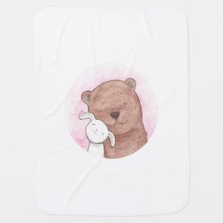 Bear & Bunny Blanket Cute Woodland animal Blanket Receiving Blanket