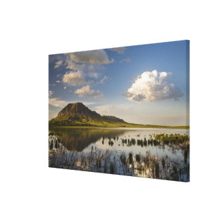 Bear Butte reflects into Bear Butte Lake near Canvas Print