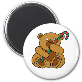 Bear Candy Cane 2 Inch Round Magnet