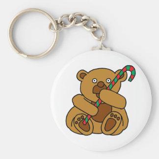 Bear Candy Cane Keychain