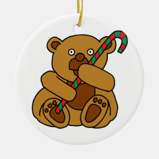 Bear Candy Cane Round Ceramic Ornament