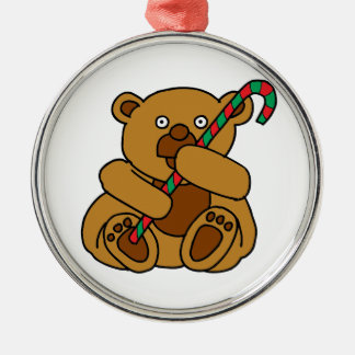 Bear Candy Cane Silver-Colored Round Ornament