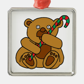 Bear Candy Cane Silver-Colored Square Ornament