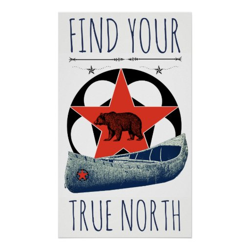 Bear Canoe Red Star Poster