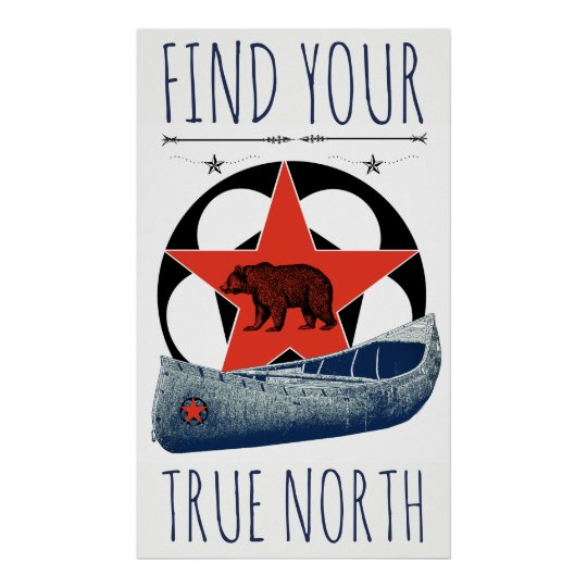 Bear Canoe Red Star Poster