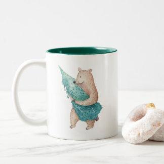 Bear Carrying Christmas Tree Holiday Mug