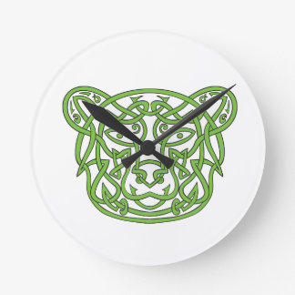 Bear Celtic Knot Round Clock