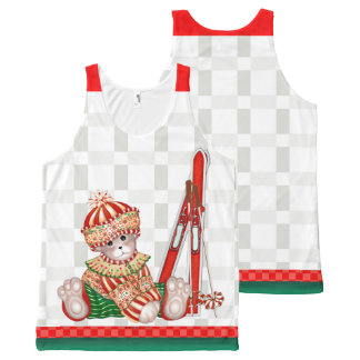 BEAR CHRISTMAS 6 All-Over Printed Unisex Tank 2